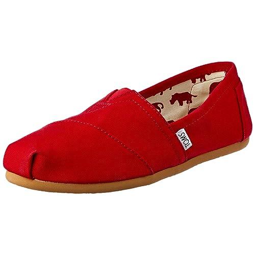 TOMS Womens 001001b07-red Red Canvas Wm CLSC Alpargata Flat