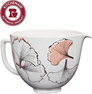 KitchenAid KSM2CB5PGG 5QT Ceramic Stand Mixer Bowl, 5 Qt, Gingko Leaf