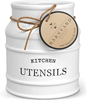 """Barnyard Designs Ceramic Utensil Crock Holder for Kitchen Counter, Rustic Farmhouse Countertop Decor, French Country Kitchen Caddy Organizer for Cooking Utensils, Spatulas and Mixing Spoons, White, 6"""""""