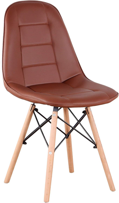 Sweethome Lot de 4 chaises de salle à manger avec dossier en bois naturel et polypropylène, chaises élégantes pour salon, café, cuisine (Kaki) Pu Marron