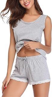 Pijamas para Mujer Verano Corto Ropa de Domir de Algodon Manga Corta Camisetas sin Mangas y Pantalones Cortos Dos Piezas