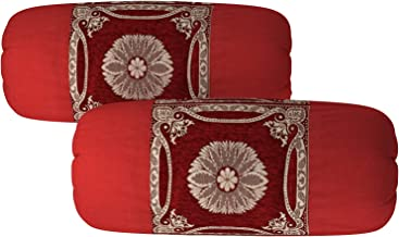 Luxury Crafts Chenille Velvet Luxurious Bolsters Covers (16x36 inches)- Set of 2 (Maroon)