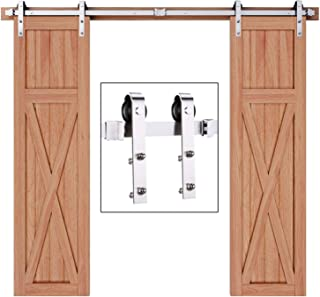 EaseLife 8 FT Stainless Steel Double Door Sliding Barn Door Hardware Track Kit,Anti-Rust Anti-Corrosion,Slide Smoothly Quietly,Easy Install,Fit Double 24