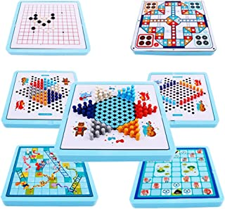 7 in 1 Multifunctional Board Game Set-Ludo,Gobang,Snakes and Ladders,Chinese Checkers & More Family Game for Adults and Kids