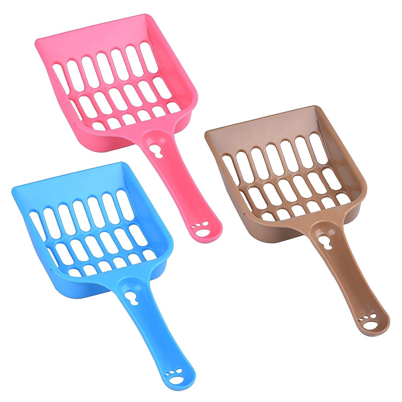 3PCS Plastic Cat Litter Scoop, Kitty Litter Boxes Scooper Pet Sift Shovel, Litter Cleaning Tool (Pink, Blue, Brown)