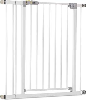 Hauck Open N Stop Puerta de seguridad incluido extensión de 9cm, para escaleras 84 – 89 cm, ampliación con extensiones a 110cm, sin agujeros en la pared, con apertura a ambos lados, hierro, blanco