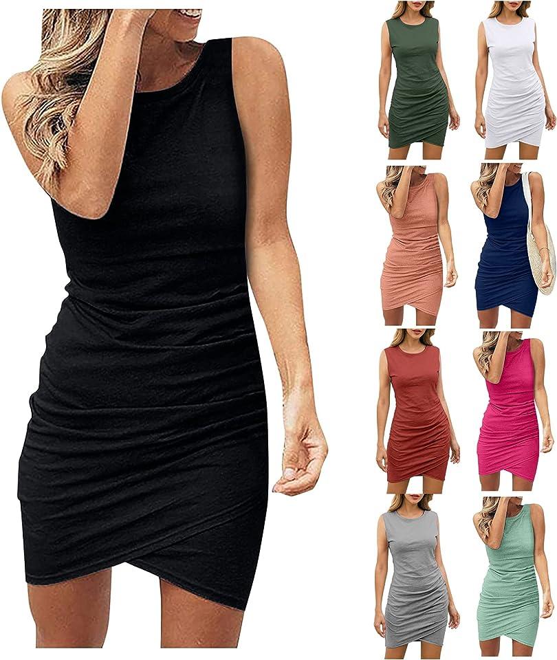 Womens Summer Dresses Black Casual Crew Neck Ruched Sleeveless Tank Bodycon 2021 Shirt Short Mini Dresses