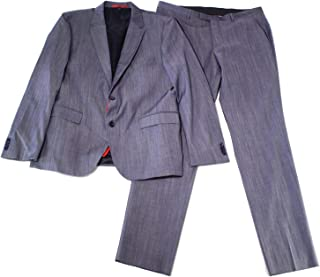 Hugo Boss Blue Mens Size 44 Notch-Collar Two Button Wool Suit