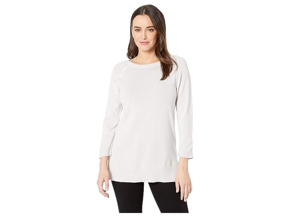 Lilla P Cotton Modal Button Sweater Tunic (Cloud) Women