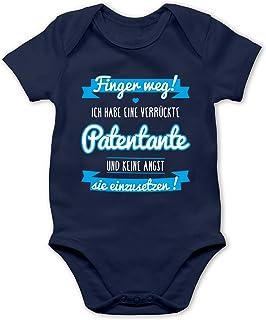Shirtracer Sprüche Baby - Ich Habe eine verrückte Patentante blau - Baby Body Kurzarm für Jungen und Mädchen
