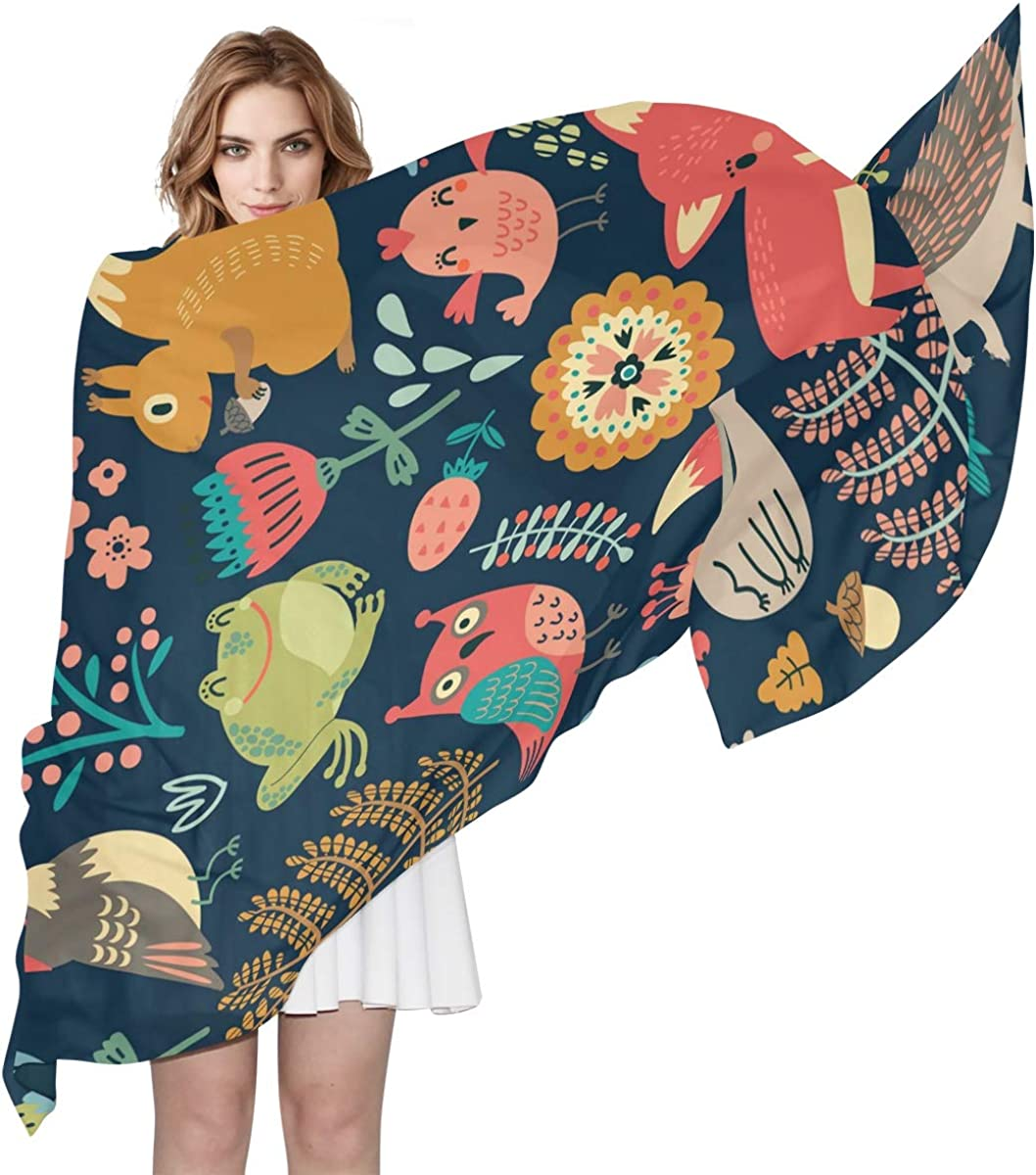 XLING Fashion Scarf Floral Animal Long Leaves Fox New sales Forest Lightwe Low price