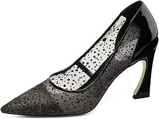 [チカル] レディース パンプス メッシュ ハイヒールパンプス ポインテッドトゥ シューズ モカシン 手造り 靴 美脚 8.5cm ピンヒール 牛革 レザー 本革 オフィス カジュアル 通勤 結婚式 婦人靴 歩きやすい 大きいサイズ