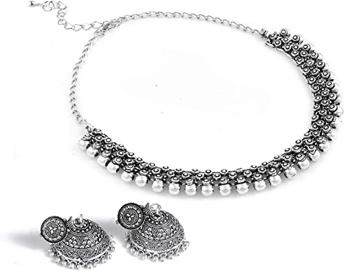 Paradise Jewels German Silver Necklace and Earrings Set for Women & Girls - Oxidised Silver