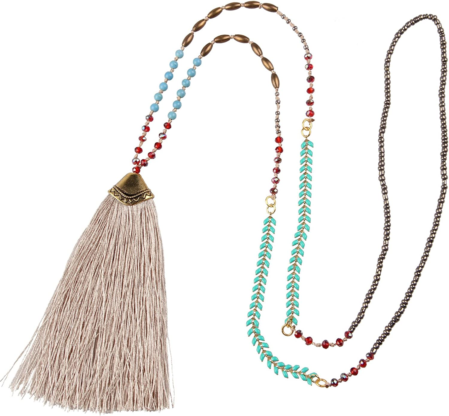 KELITCH Wood Crystal Beaded Bohemian Y Necklace Peace Sign Tassel Pendant Long Necklaces Handmade Charm Chain Link Jewelry Gift