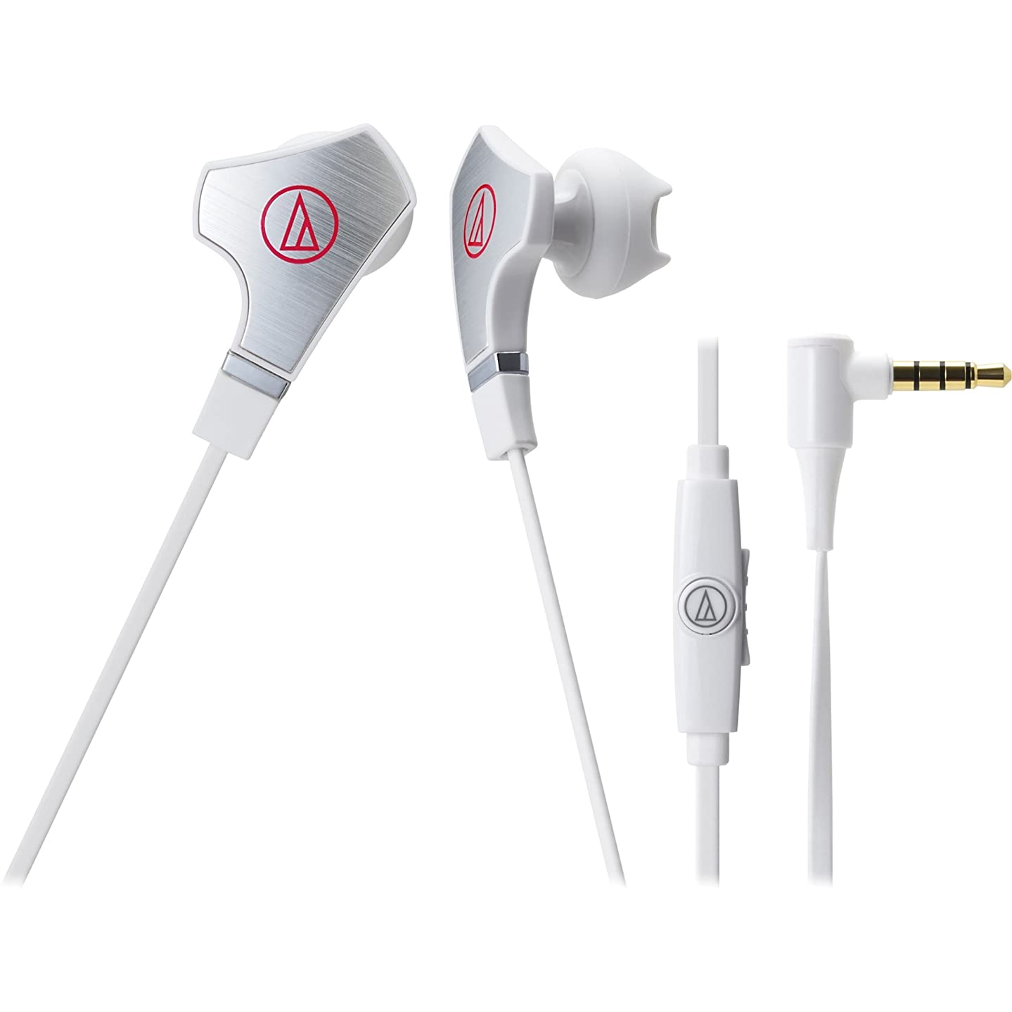 Audio Technica Audio-Technica ATH-CHX7iS SonicFuel Hybrid Earbud Headphones for Smartphones, Stereo - White - Mini-phone - Wired - 16 Ohm - 15 Hz - 22 kHz - Gold Plated - Earbud - Binaural - In-ear - 3.94 ft Cable - Condenser, Omni-directional Microphone A