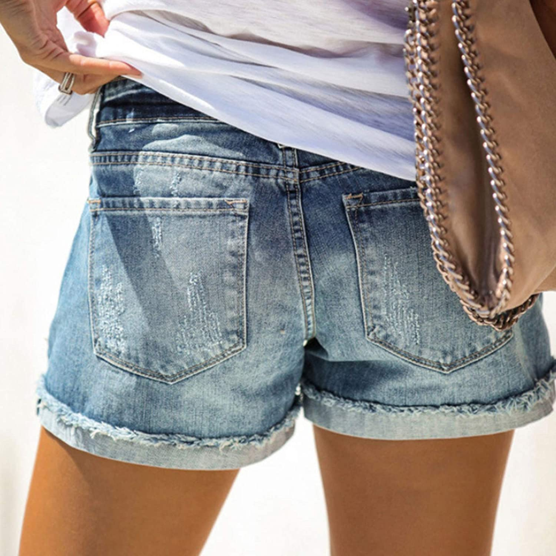 Qinvern Women's Streetwear Denim Shorts Mid Rise Ripped Cuffed Hem Retro Washed Fray