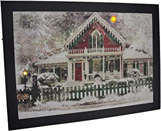 Canvas Prints Led Lighted Snow Covered Festive Holiday House Canvas Print 16.75 X 12 X 0.75 Inches Multicolored