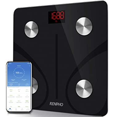 RENPHO Body Fat Scale Smart BMI Scale Digital Bathroom Wireless Weight Scale, Body Composition Analyzer with Smartphone App sync with Bluetooth, 396 lbs - Black