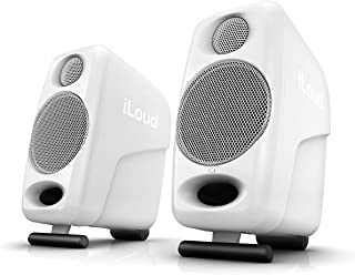 """IK Multimedia iLoud Micro Monitor, On-Board 56-bit DSP Processor, Two 3/4"""" Tweeters and Two 3"""" Woofers, with Bluetooth Streaming, RCA and 1/8"""" Inputs - White"""