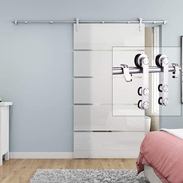 EaseLife 8 FT Heavy Duty Stainless Steel Sliding Glass Door Hardware Track Kit Modern Slide Smoothly Quietly Easy Install Fit Up To 48 Wide Door 8FT Track Single Door Kit