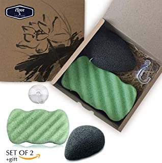 Ilove Konjac Sponge Halloween Set (2 Pack)|100% Natural Cleansing Gentle Exfoliating Facial and Body Konjac Sponges|Bamboo Charcoal and Green Tea|Suction Hook as a Gift