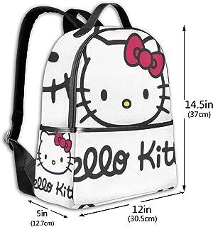 Classic School Backpack Hello Kitty Head Unisex College Schoolbag Travel Bookbag Black