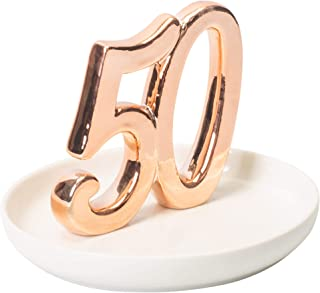 50th Wedding Anniversary Rose Gold Tone Porcelain Ring Dish Jewelry Holder