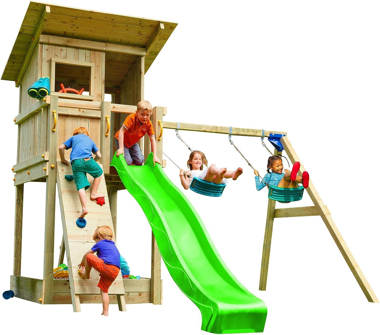 Blau Rabbit 2.0 Spielturm BEACH HUT mit Rutsche 2,30 m oder 2,90 m inkl. Wasseranschluss, Kletterwand mit Klettersteinen, Doppelschaukel - Kletterturm, Stelzenhaus (Podesthhe 1,20 m, Grün)