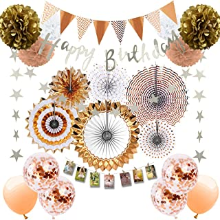 Musebits Rose Gold Birthday Party Decorations Supplies 70Pcs, Including Photo Clips, Paper Fans, Pom Poms Flowers, Birthda...