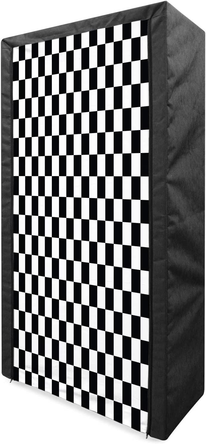Ambesonne Max 55% OFF National products Checkers Game Portable Wardrobe Geometric Grid Fabric
