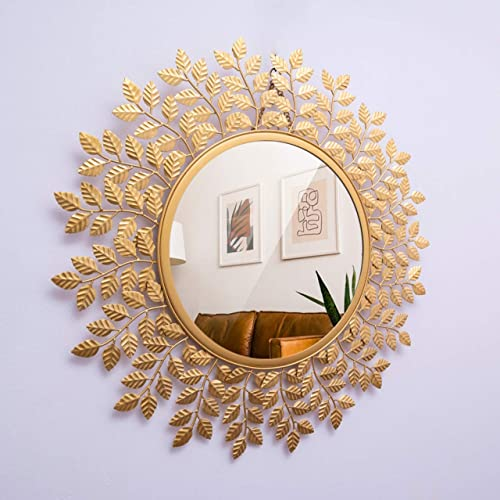 Furnish Craft Beautiful Leaf Round Wall Mirror (24 x 24 inch, Gold)