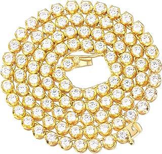 سلسلة التنس جولد إيديا المجوهرات المثلجة المختبر الماس باتركاب للرجال الفولاذ المقاوم للصدأ 4 مم (22، 18 قيراط مطلي)