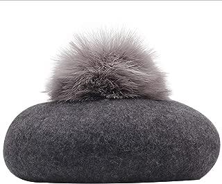 Lxy Painter Cap Wool hat Female Autumn and Winter Ball Tide Dome Beret hat Retro Plain Literature wk (Color : Gray, Size : M)
