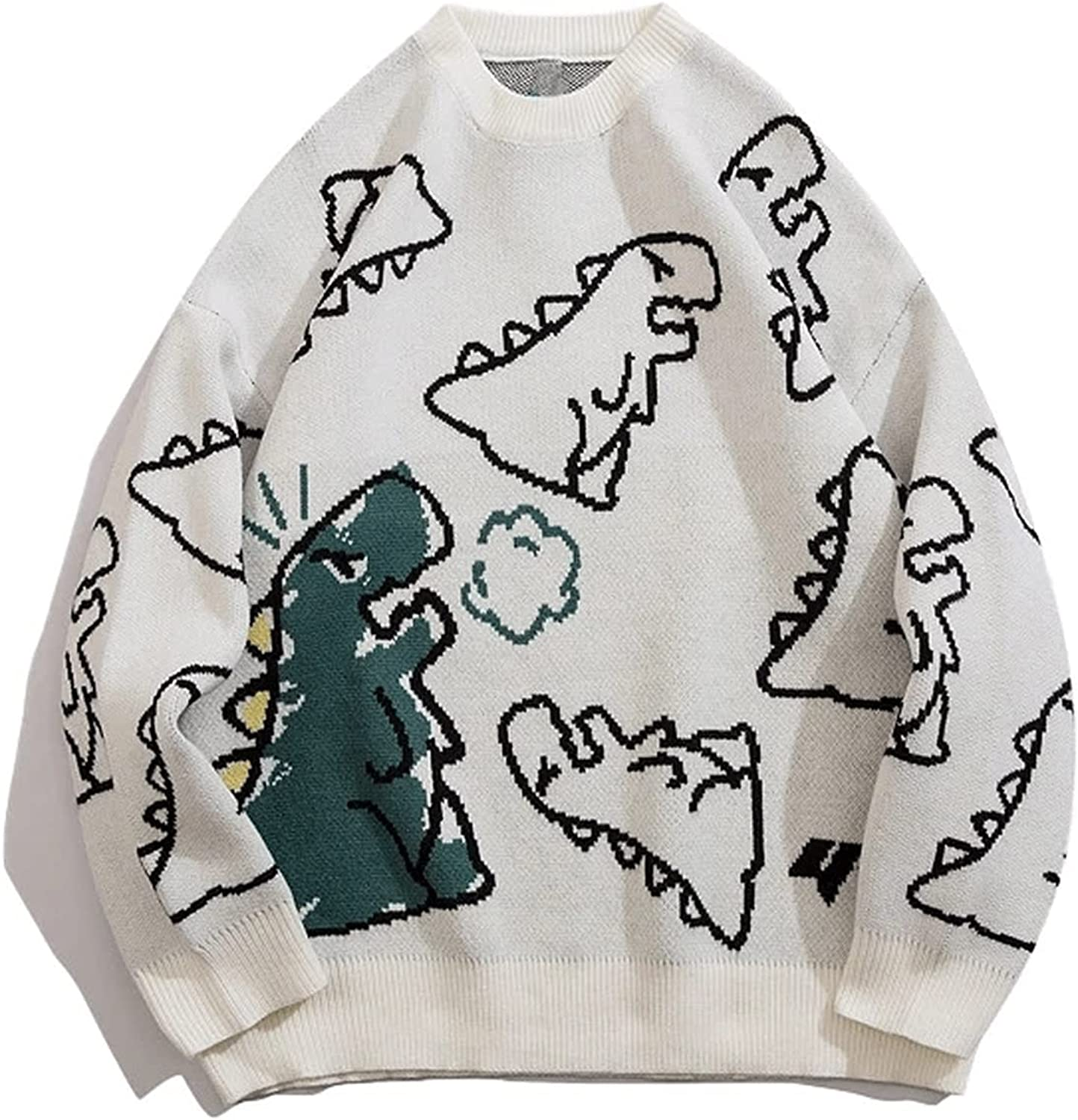 Zzx Cartoon Pattern Knitted Jumper Dinosaur Cartoon Pullover O-neck Oversize Casual Couple Male Sweaterss