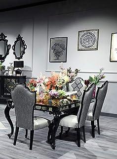 Casa Padrino Conjunto de sillas de Comedor Barroco Plata/Gris/Negro 55 x 55 x A. 116 cm - Conjunto de sillas de Cocina Noble de 6 - Muebles de Comedor en Estilo Barroco