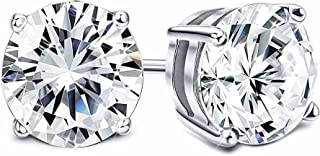 Sllaiss Set with Swarovski Zirconia Stud Earrings for Women Made of Sterling Silver Round-Cut 4-Prongs CZ 1.00cttw~8.00cttw Hypoallergenic
