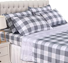 Basic Choice 6 Piece Sheet Set - Luxury Soft 2000 Series, Wrinkle & Fade Resistant Bed Sheets (Full, Gingham Gray)