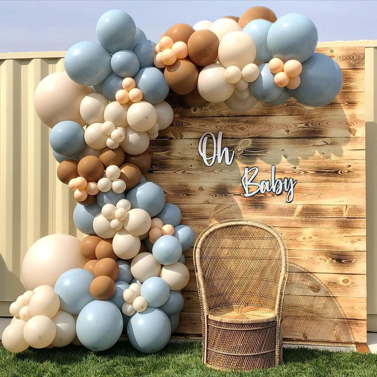 140Pieces Brown Nude Blue Ivory White Balloons Balloon Garland Arch Kit, Jungle Safari Wild One Teddy Bear Gender Reveal Baby Shower Birthday Theme Party Decorations Supplies for Boy Girl