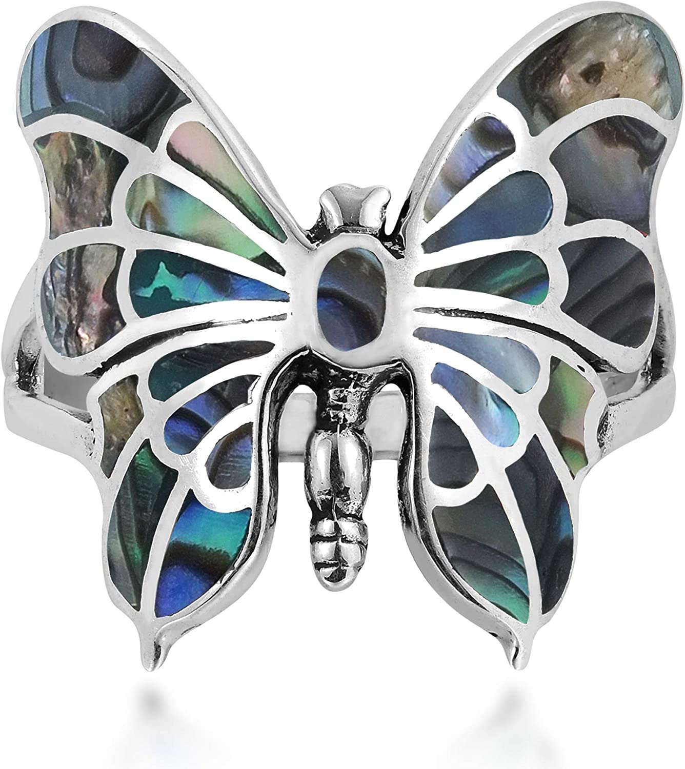 AeraVida Exotic Max 80% OFF Graceful Butterfly Abalone In stock Ster .925 Shell Inlay