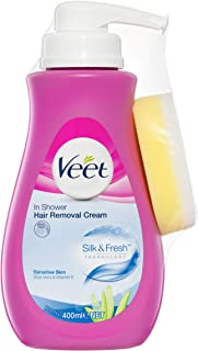 Veet In Shower Cream for Sensitive Skin Hair Removal, 400g