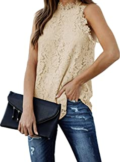 Women's Summer Lace Trim Sleeveless Top Halter Hollow Out...