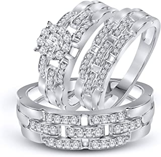 La Joya 3/4 cttw Simulated Diamond Sterling Silver Wedding Engagement Ring Trio Ring Set Him US10 and Her US7