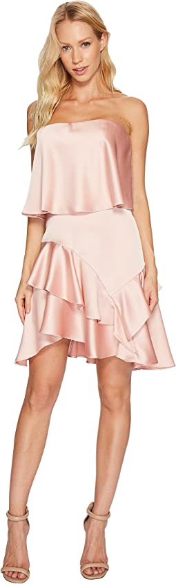 Halston Heritage - Strapless Flounce Skirt Satin Dress