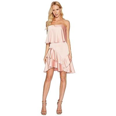 Halston Heritage Strapless Flounce Skirt Satin Dress (Blush) Women