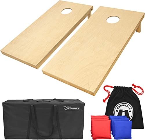 GoSports Solid Wood Premium Cornhole Set - Choose Between 4'x2' or 3'x2' Game Boards, Includes Set of 8 Corn Hole Tos...
