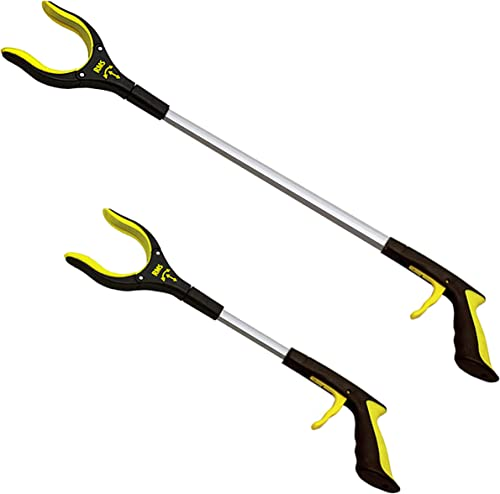 RMS 2-Pack 32 Inch and 19 Inch Grabber Reacher with Rotating Gripper - Mobility Aid Reaching Assist Tool, Trash Picke...