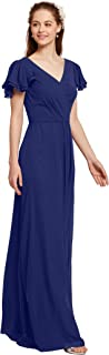 AW Chiffon Long Bridesmaid Dresses with Sleeves V Neck Formal Prom Dresses for Women Plus Size Evening Gowns
