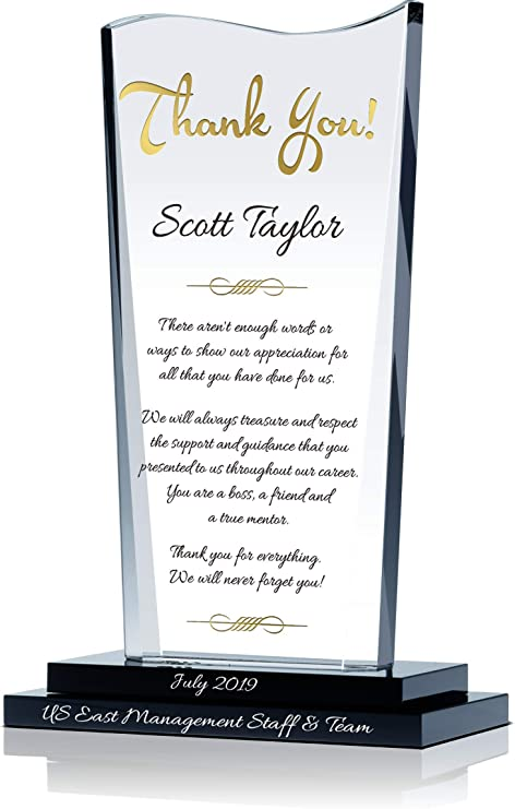 Amazon Com Personalized Crystal Farewell Gift For Boss Leaving Or Retiring Customized With Boss Name And Farewell Message Unique Going Away Gift For Boss Manager Supervisor And Other Leaders M 7 5 Home