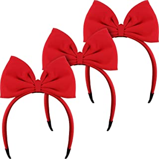 3PCS Red Bow Headbands Bowknot Huge Bow Hair Band Hair Hoop Headdress Halloween Cute for Girls Women Kids Party Cosplay Costume