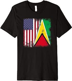 Half Guyanese Flag | Vintage Guyana USA Gift Premium T-Shirt